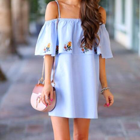 Blue Floral Off-the-Shoulder Dress Floral Embroidered Ruffle Midi Dress Women fashion